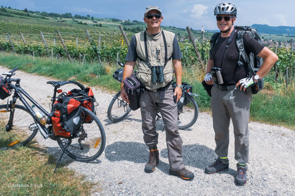 Unterwegs in den Hallauer Rebbergen am SH-BirdRace 2018 mit Antonio Anta Brink (li) und Stephan Trösch (Foto: Brigitte Girsberger)