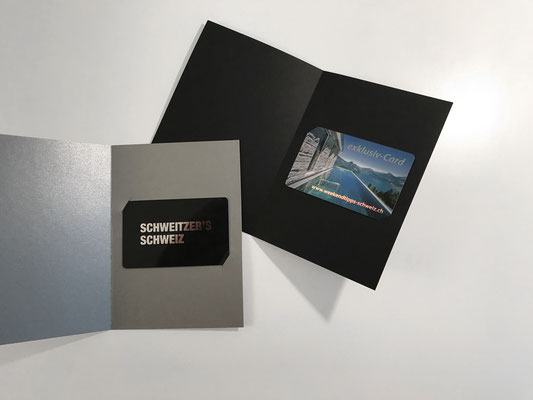 Verpackung Klappkarte einfach, Silber- und Schwarz-Karton 220gm2, diverse Farben erhältlich, , individuell bedruckbar