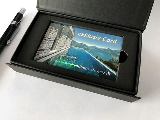 exklusiv-Card mit hochwertiger Klappschachtel in Schwarz und Magnetverschluss
