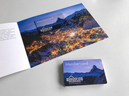 Flyer und Membercard Busco Reinigung AG