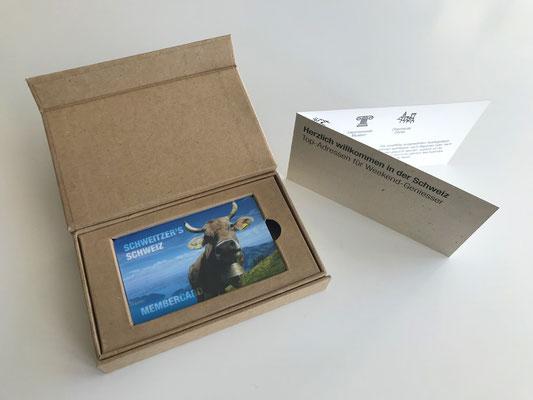 Membercard mit hochwertiger Klappschachtel aus Naturpapier Braun und Magnetverschluss