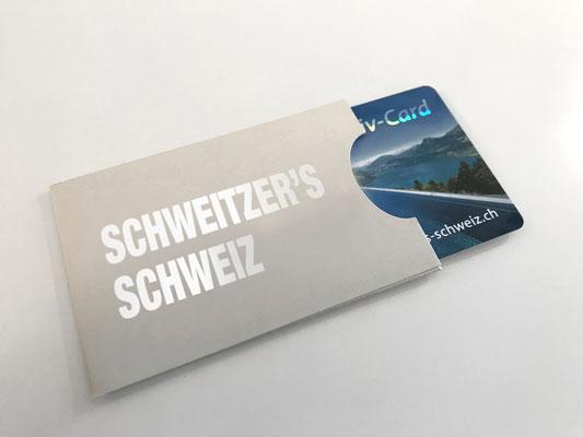 Verpackung Kartenhülle aus Bilderdruck-Karton 300gm2, individuell bedruckbar (Beispiel Heissprägefolie Silber)