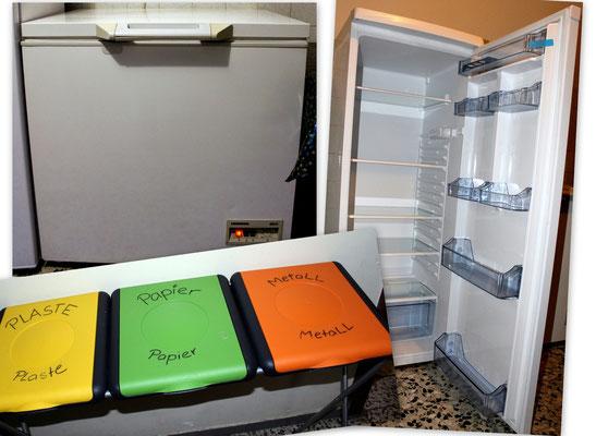 Tiefkühltruhe, großer Kühlschrank, Mülltrennstation