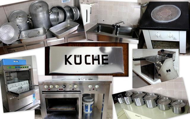 große Töpfe, Siebe und Pfannen sowie Gastroherd, Hockerkocher, Fritteuse, Geschirrspüler, etc.