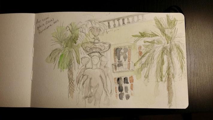 Place reial (mon 1er dessin sur le vif ;) )