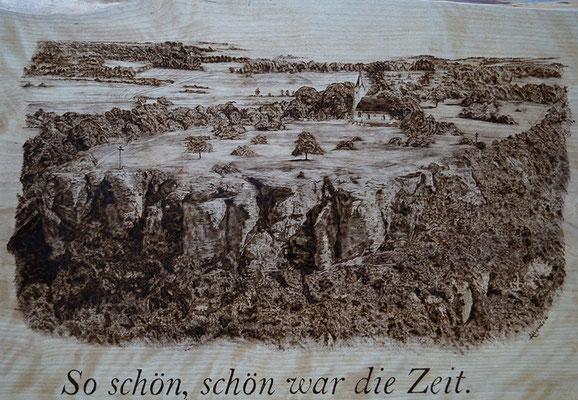 Staffelberg in Brandmalerei, Birkenholz 45x50 cm