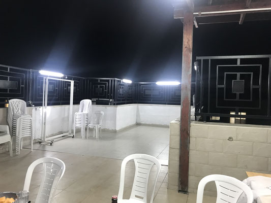 éclairage de la terrasse le soir