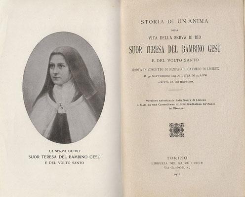 1911 Storia di un'anima prima traduzione italiana autorizzata dal Carmelo di Liseux di scritta da Suor Gesualda
