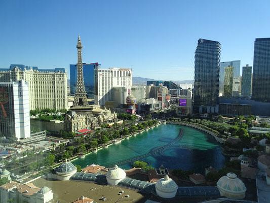 Sicht aus unserer Suite auf Strip und Bellagio
