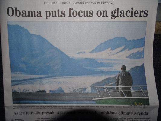 Obama am Bear Glacier in Seward - wir waren vorher da ... schaut schlecht aus für das Klima