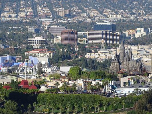 die Universal Studios von oben bzw. vom Mulholland Drive