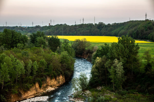 Il torrente Cervo visto dal ponte della tangenziale di Chiavazza