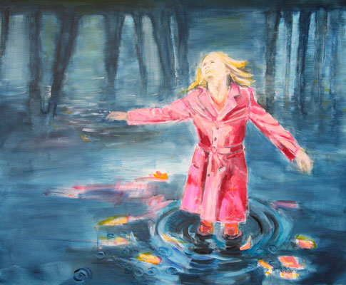 Frau im Regen 120x100