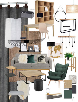 planche d'ambiance, ou moodboard, scandinave