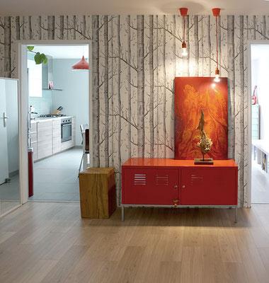entrée; IKEA; papier peint; Cole and son; Woods; IKEA PS; buche