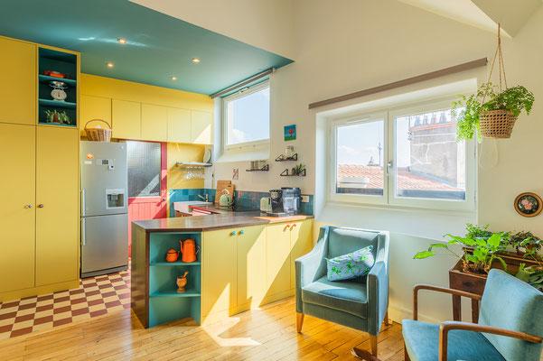 cuisine; vintage; maison de campagne; bleu; jaune; sur mesure; luon; croix rousse