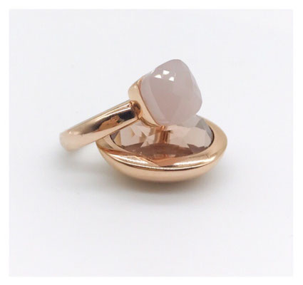 Statement-Ring, rosevergoldet, Kissenschliff, Rose-Schmuckstein, 89,00 €
