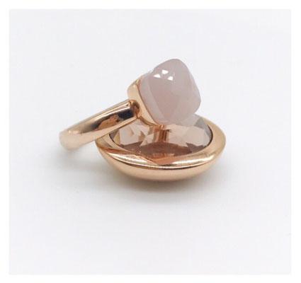Statement-Ring, rosevergoldet, Kissenschliff, Rose-Schmuckstein, 89,00 €