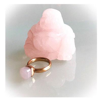 Statement-Ring rosevergoldet, 18 K, rosa Schmuckstein, 89,00 €