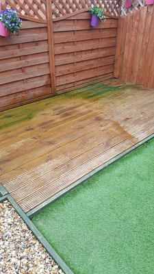 Green slippery decking in Cranbrook, Devon