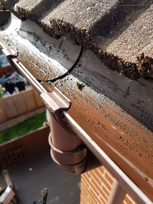 Incorrectly fitted guttering. A quick fix for this customer