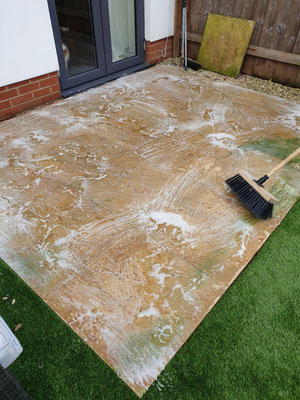 Cleaning a patio in Exminster