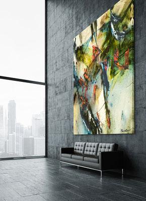 Bürogebäude Empfangshalle. Kunstwerke für Unternehmen mieten kaufen leasen. Gemälde kaufen.