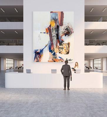 Arbeitgeber Branding mit Kunst-Büroausstattung. Bei uns ganz einfach abstrakte Gemälde mieten kaufen leasen.