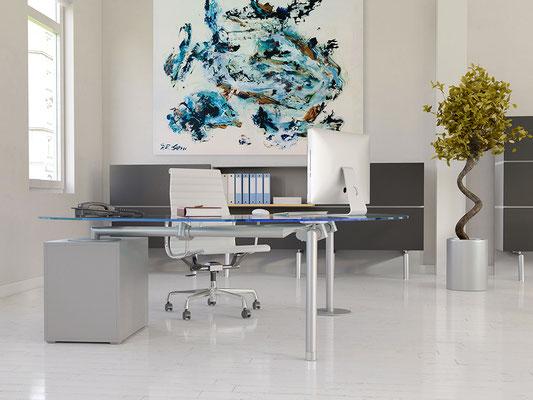 Arbeitsplatz ergonomisch einrichten. Um den Augen und dem Gehirn eine kreative Pause zu gönnen wird abstrakte Kunst im Büro noch vielfach unterschätzt.