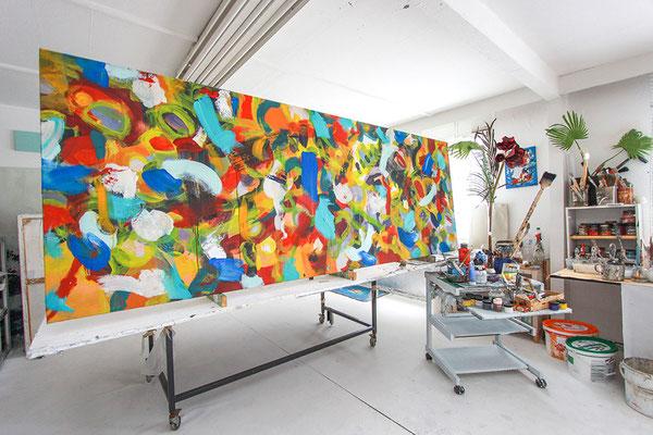 Eines der Kunstwerke im Atelier kurz vor der Fertigstellung.