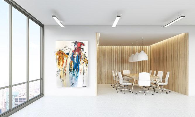 Moderne Kunst im Unternehmen steigert die Mitarbeitermotivation und Kreativität. Abstrakte Kunst bei uns mieten leasen oder kaufen.