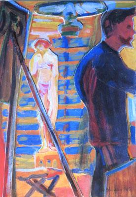 Kirchner -Heckel und Modell im Atelier; 1905