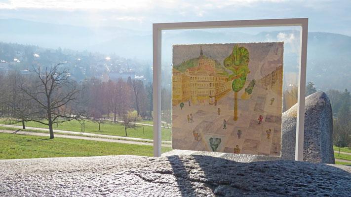 Blick vom Stein auf den Beobachter LOOKY und die Landschaft - © Idee, Fotos Peter Diziol
