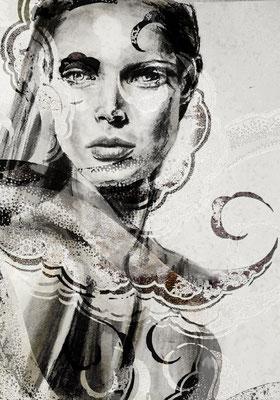 Handzeichnung mit Blei-Kohlestiften angefertigt,  in Photoshop eine neue Bildkomposition mit Wellen kreiert