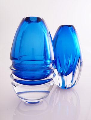 Geschliffene Vasen mit Innenüberfang, h 20 cm