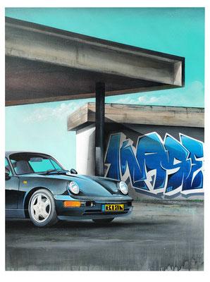 """81x65cm. Acrylic and spray paint on canvas. """"Futur"""" 2018"""