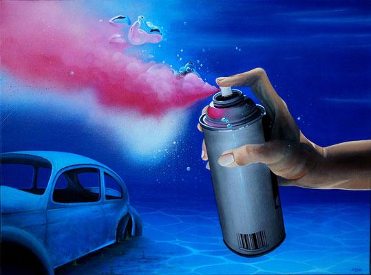 """80x60 cm. Acrylic and spray paint on canvas. """"Aérosol"""" 2014"""