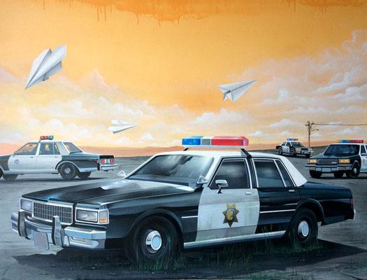 "116x89cm. Acrylic and spray paint on canvas. ""Cops"" 2015."