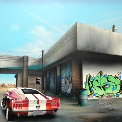 "100x100cm. Acrylic and spray paint on canvas. ""Objectif lune"" 2017"