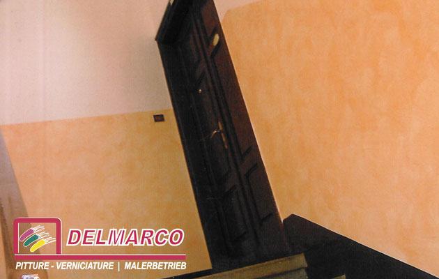 Delmarco pitture e verniciature Bolzano - Bozen  | giroscale casa Ferrovieri Vilpiano - tinteggiature e velature toscane