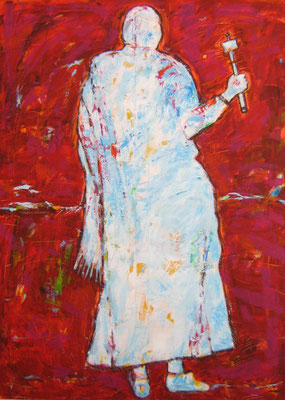 """Pilger mit Gebetsmühle"", 180x130cm, Acryl auf Leinwand, 2010"
