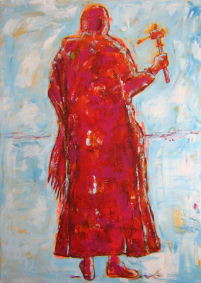 """Pilger mit Gebetsmühle II"", 180x130cm, Acryl auf Leinwand, 2010"