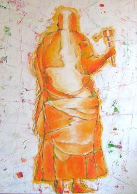"'Pilger mit Gebetsmühle IV"", 180x130cm, Acryl auf Leinwand, 2010"