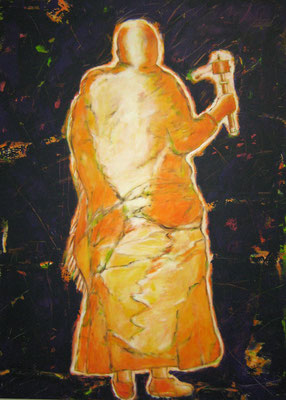 """Pilger mit Gebetsmühle III"", 180x130cm, Acryl auf Leinwand, 2010"