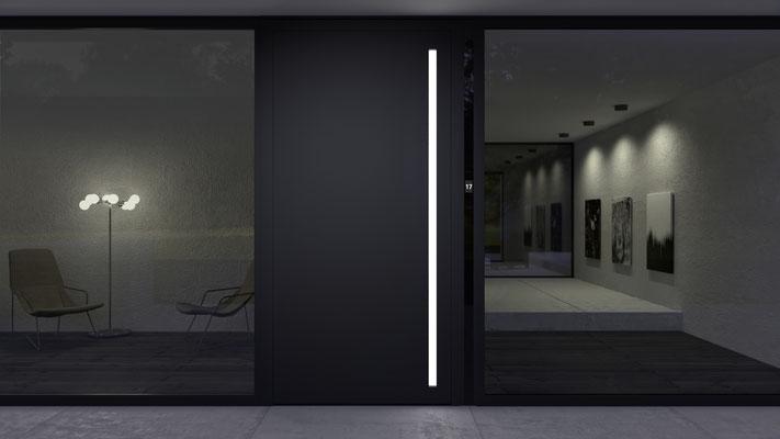 Online Haustüren kaufen mit Griffmulde und LED Beleuchtung
