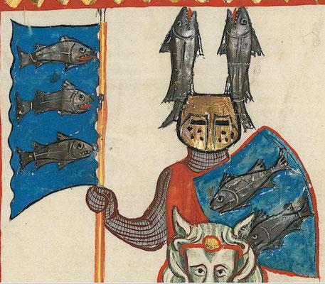 Beispiel für ein Wappen: Wachsmut von Künzigen. Bild: Universität Heidelberg, Cod. Pal. germ. 848, Große Heidelberger Liederhandschrift (Codex Manesse), Zürich, ca. 1300-1340, 160v. Public Domain.