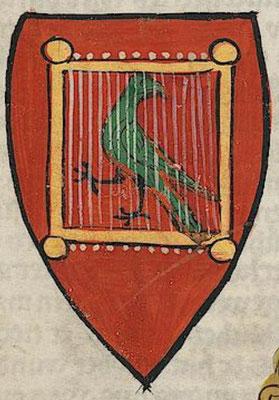 Wappen erstellen wie das Wappen Walthers von der Vogelweide. Bild: Universität Heidelberg, Cod. Pal. germ. 848 Große Heidelberger Liederhandschrift (Codex Manesse) — Zürich, ca. 1300 bis ca. 1340, 124r. Public Domain.