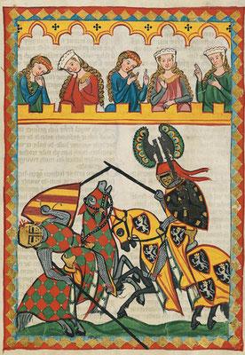 Wappen und Helmzier kennzeichnen Ritter beim Turnier. Bild: Universität Heidelberg,  Cod. Pal. germ. 848 Große Heidelberger Liederhandschrift (Codex Manesse) — Zürich, ca. 1300 bis ca. 1340, 52r. Public Domain.