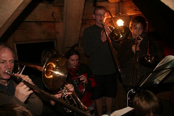 2009 in Benz - Abendblasen vom Kirchturm