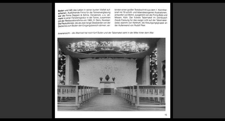 Foto aus dem Jahr 1955 mit dem ursprünglichen Standort der Tabernakelummantelung (© Aus der Festschrift anläßlich des 50. Jahrestages der Konsekration der Kirche St. Paulus, 2005)